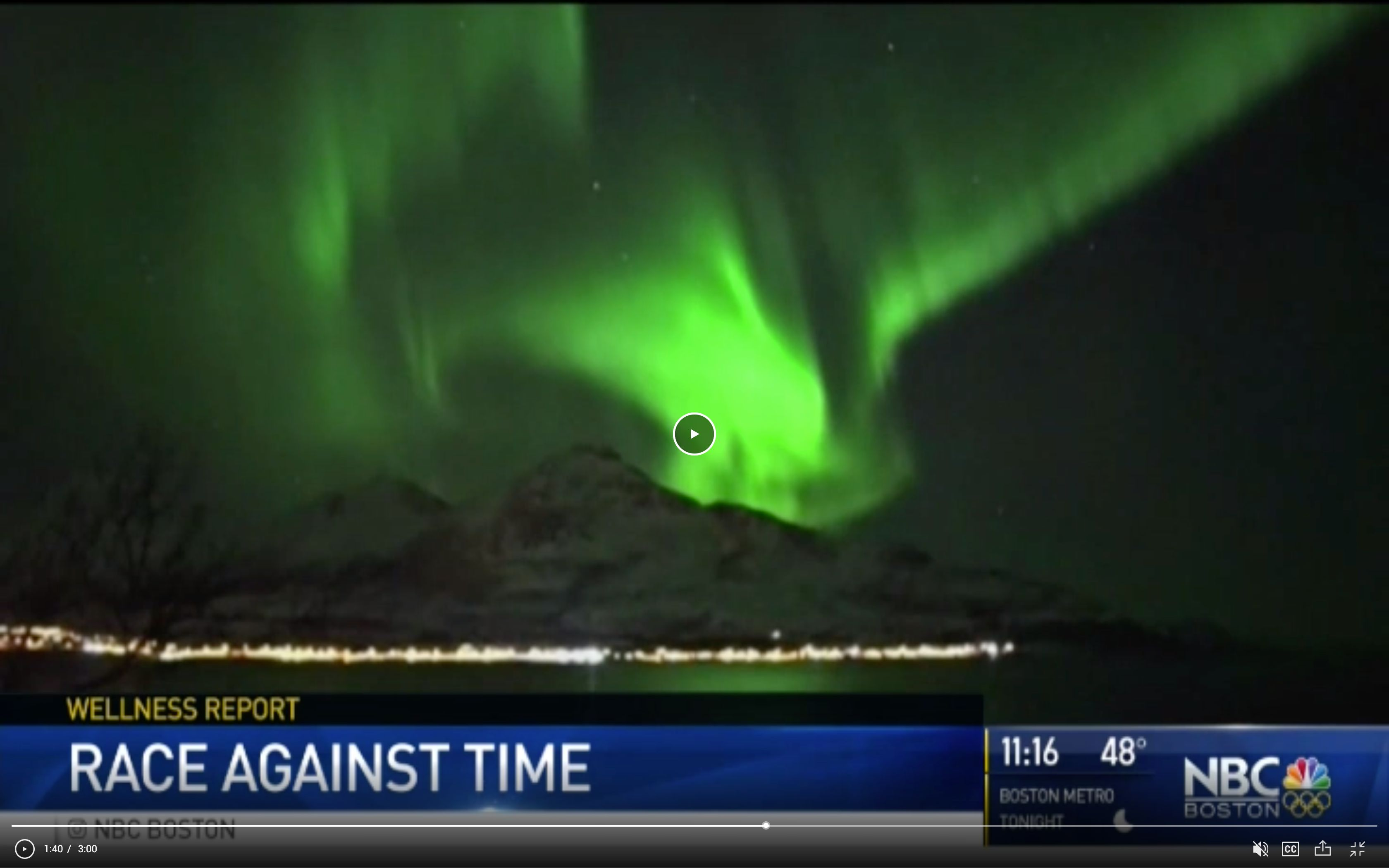 Screenshot of NBC Boston video with image of Northern lights - Wanderlight Moments - Travel Blogger