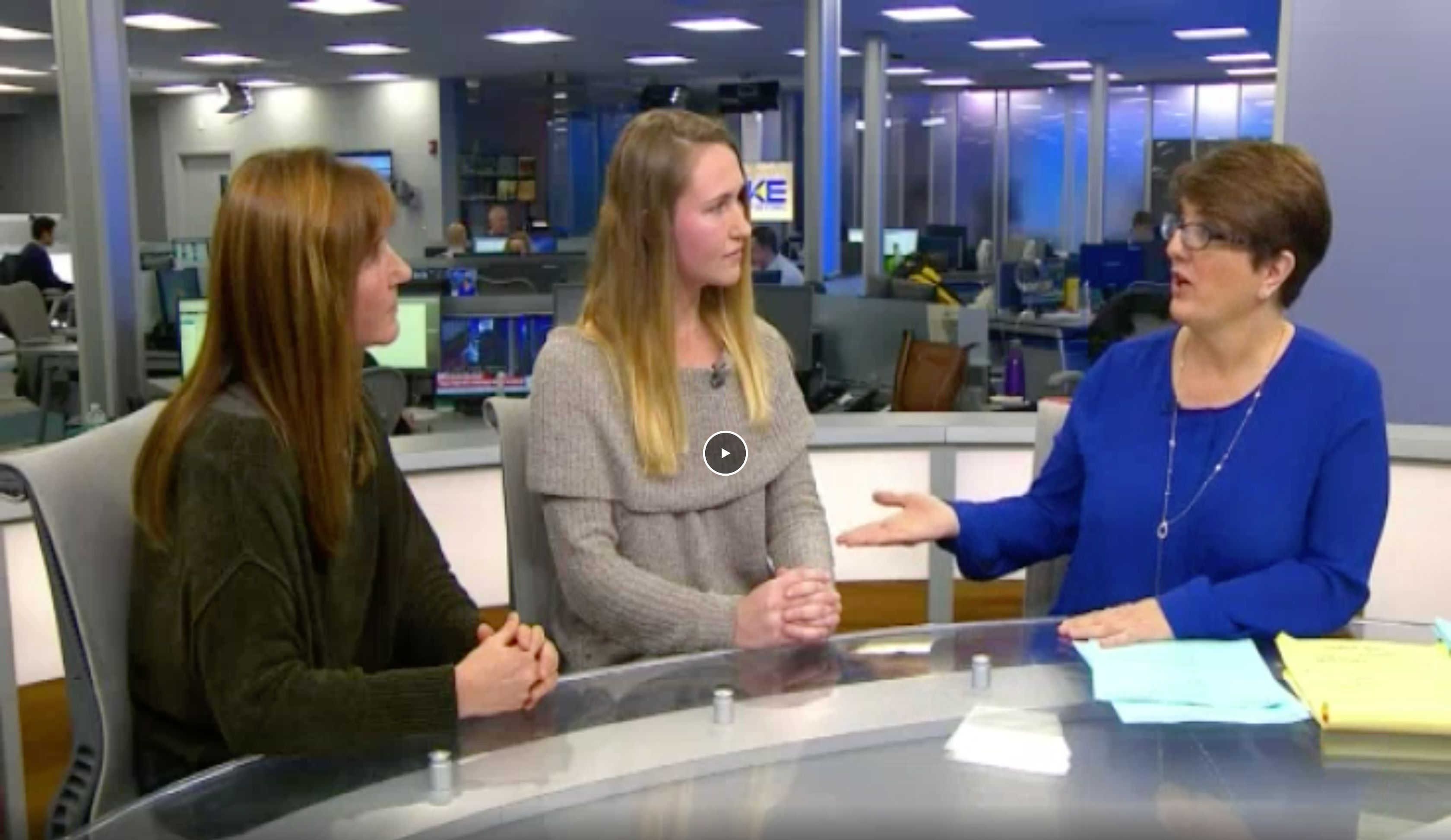 Screenshot of The Take interview with Hannah Corderman sitting in the center with Nancy Corderman to the left and Sue O'Connell to the right