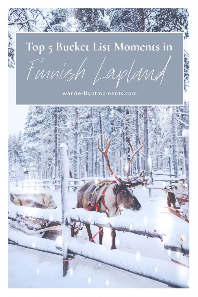 Pinterest post with text that reads Top 5 Bucket List Moments in Finnish Lapland. There is an image of a reindeer in snow.