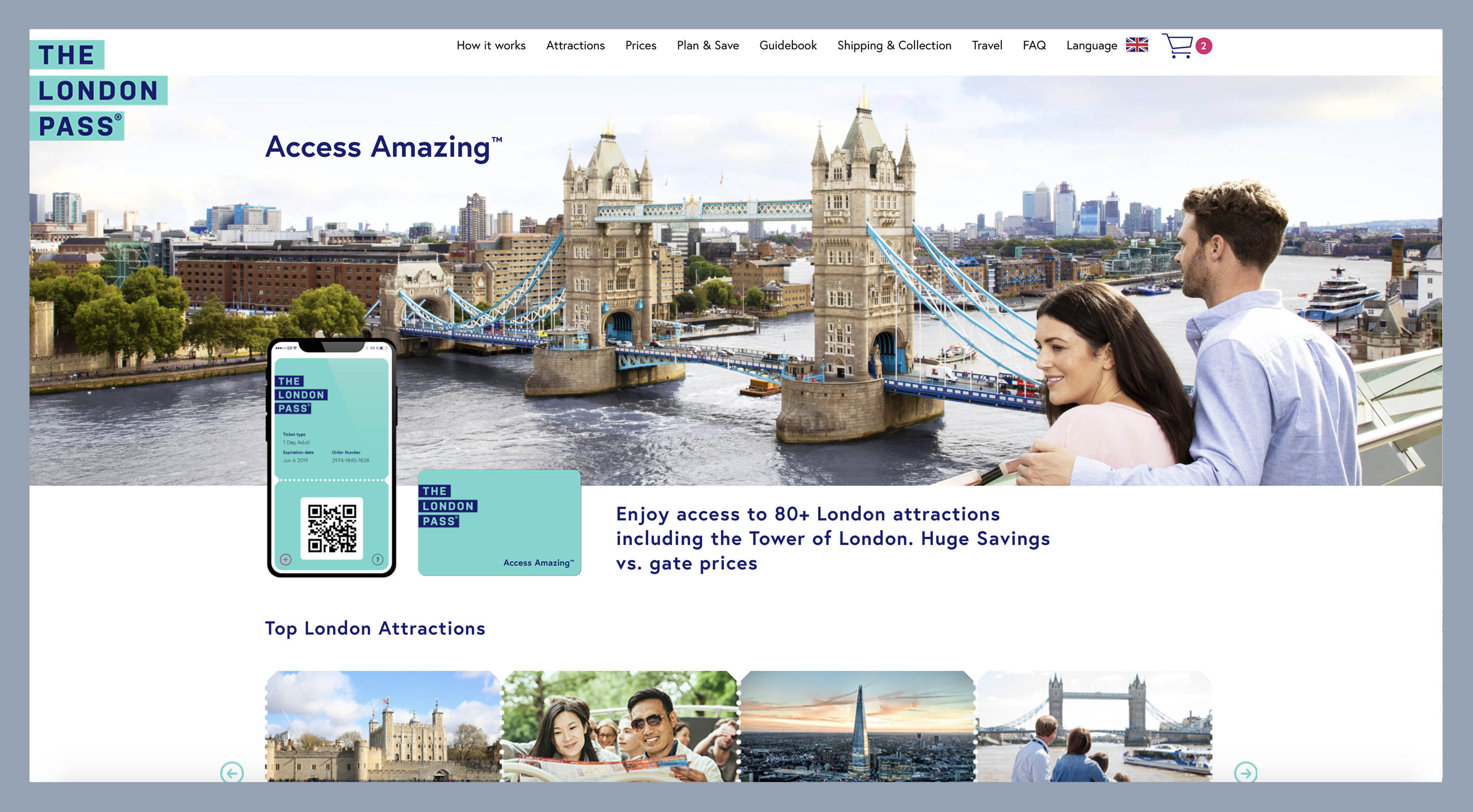 Screenshot of The London Pass website homepage with a photograph of Tower Bridge featured