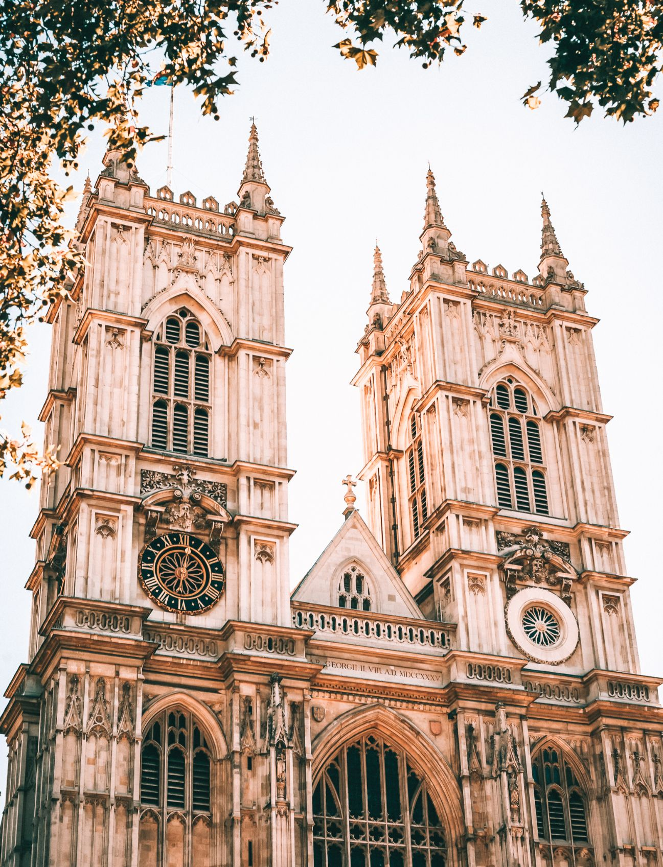 Exterior architecture of Westminster Abbey with leaves hanging from a tree in the edge of the photograph