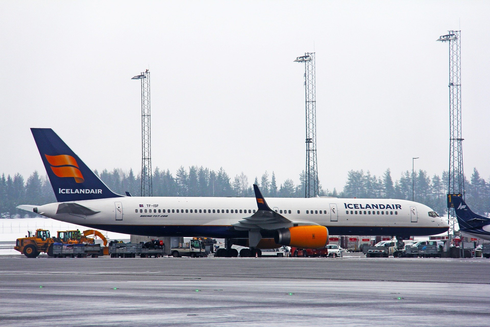Icelandair plane on airport tarmac in wintertime