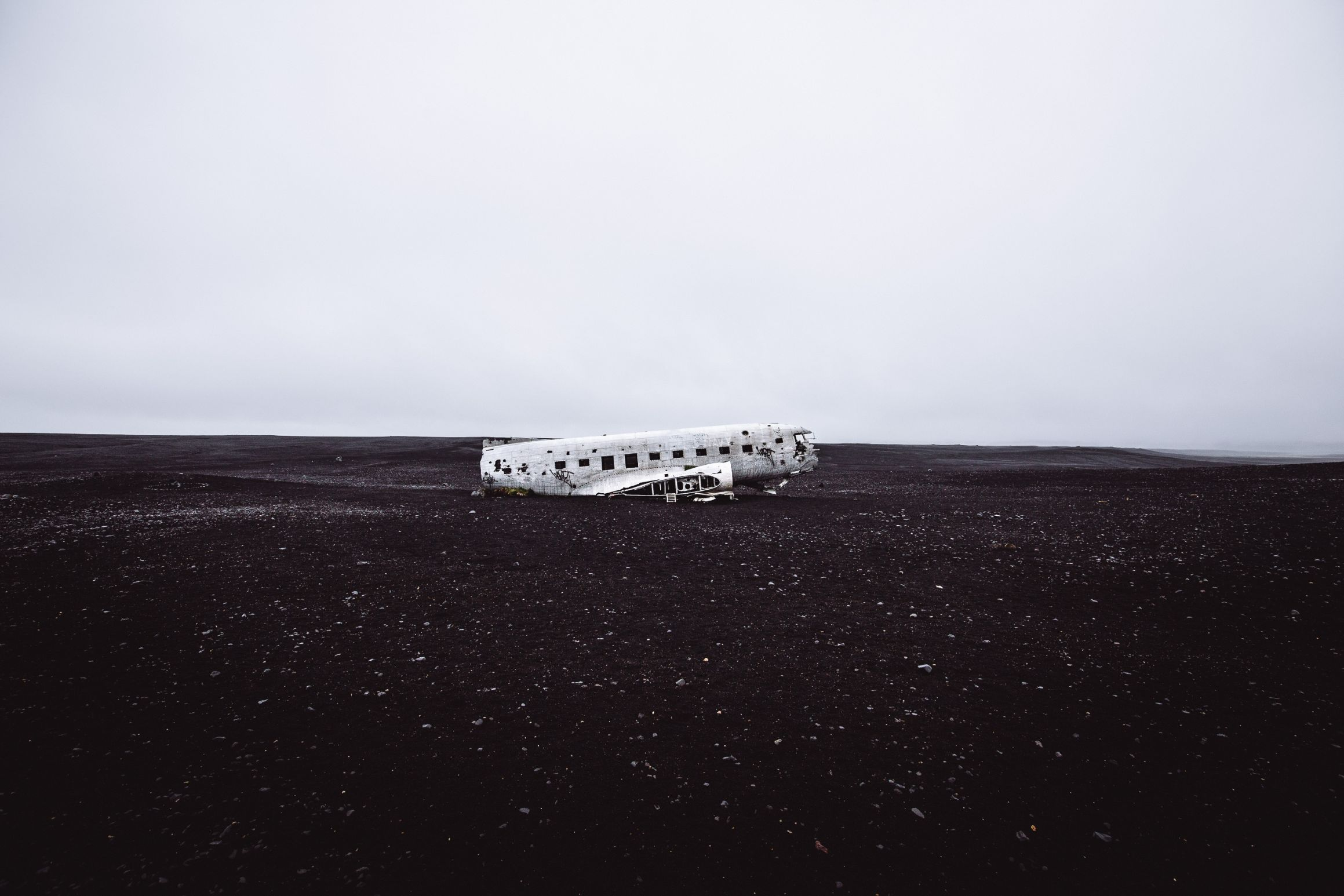 Solheimasandur Plane Wreck on desolate land in Iceland - stop in 24 hour Iceland itinerary