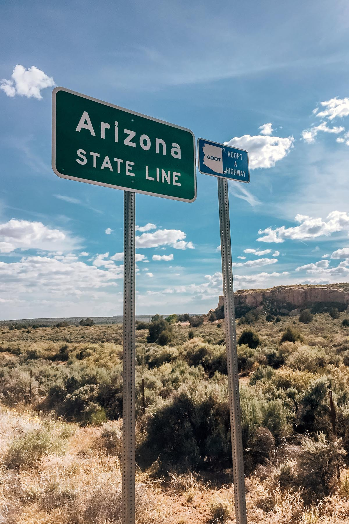 Roadside signs reading Arizona State Line and Adopt a Highway. There are bushes and rock formations in the background landscape.