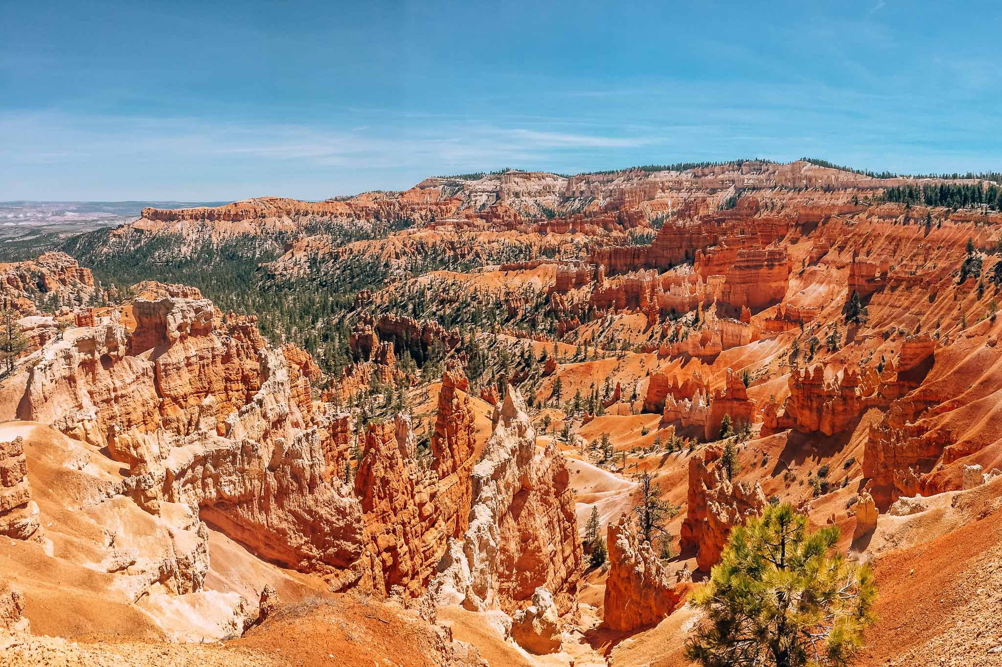 Landscape photograph of Bryce Canyon National Park in Utah. There are  lots of various rock formations and a scarcity of trees.