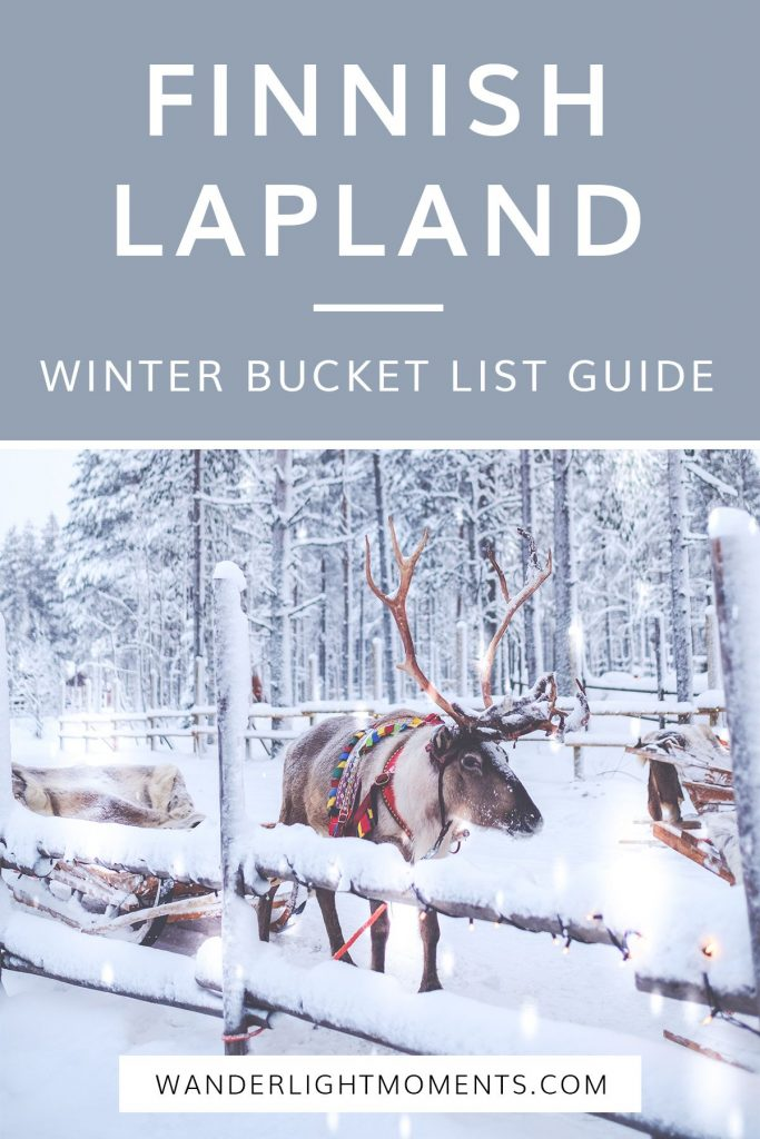 Graphic with image of reindeer and text that reads Finnish Lapland Winter Bucket List Guide