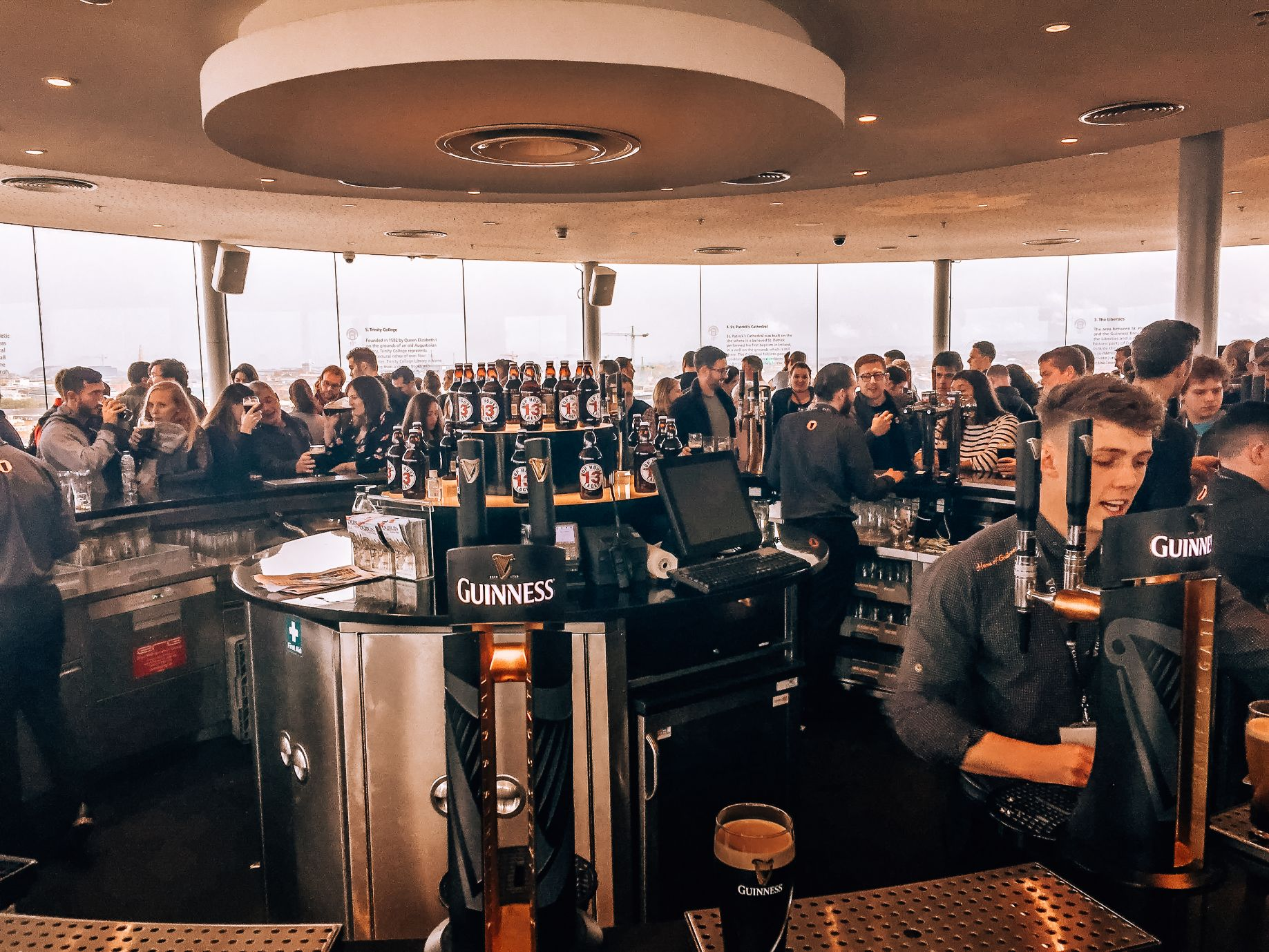 Gravity Bar located on the top floor of the Guinness Storehouse in Dublin Ireland