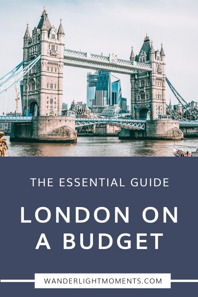 Graphic with text that reads Essential Guide London on a Budget. There is a picture of Tower Bridge above the text
