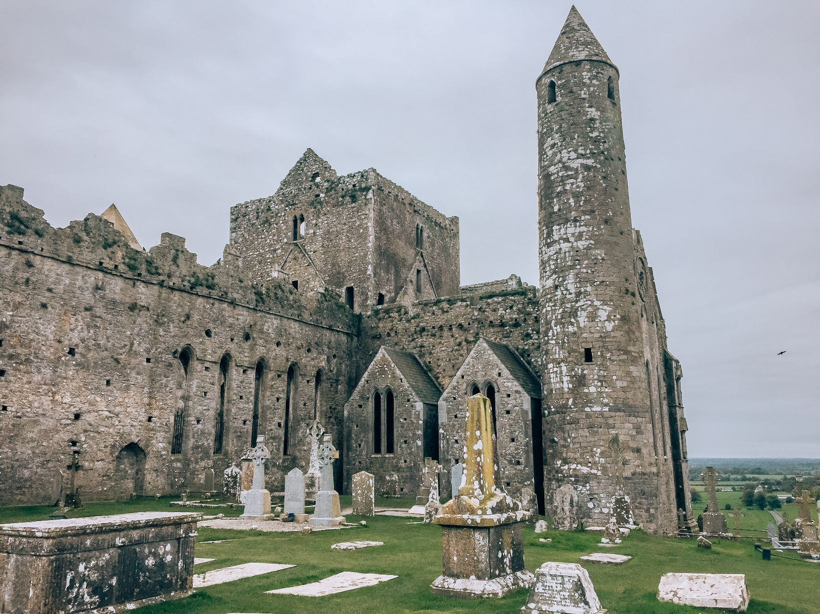 Exterior grounds of Rock of Cashel, a historic archaeological site set atop a hill