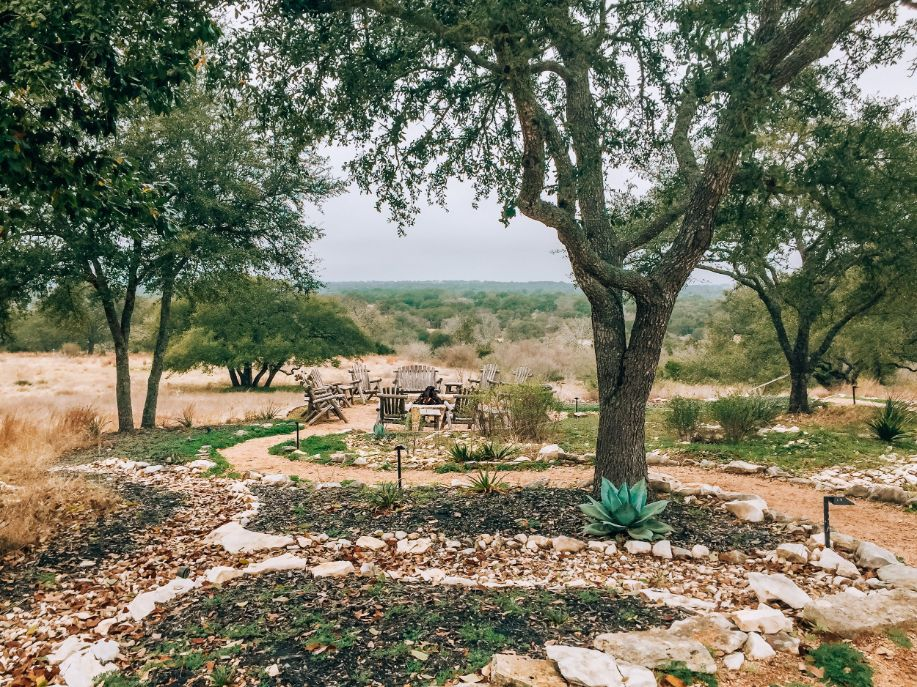 Pathway leading to the outdoor fire pit at Sage Hill Inn & Spa in Texas Hill Country