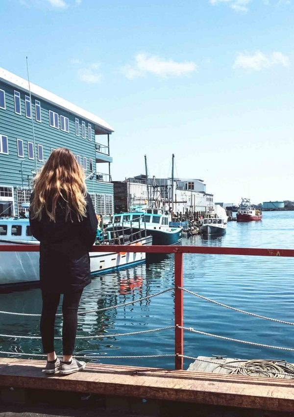 Hannah Corderman in Portland, Maine overlooking the harbor