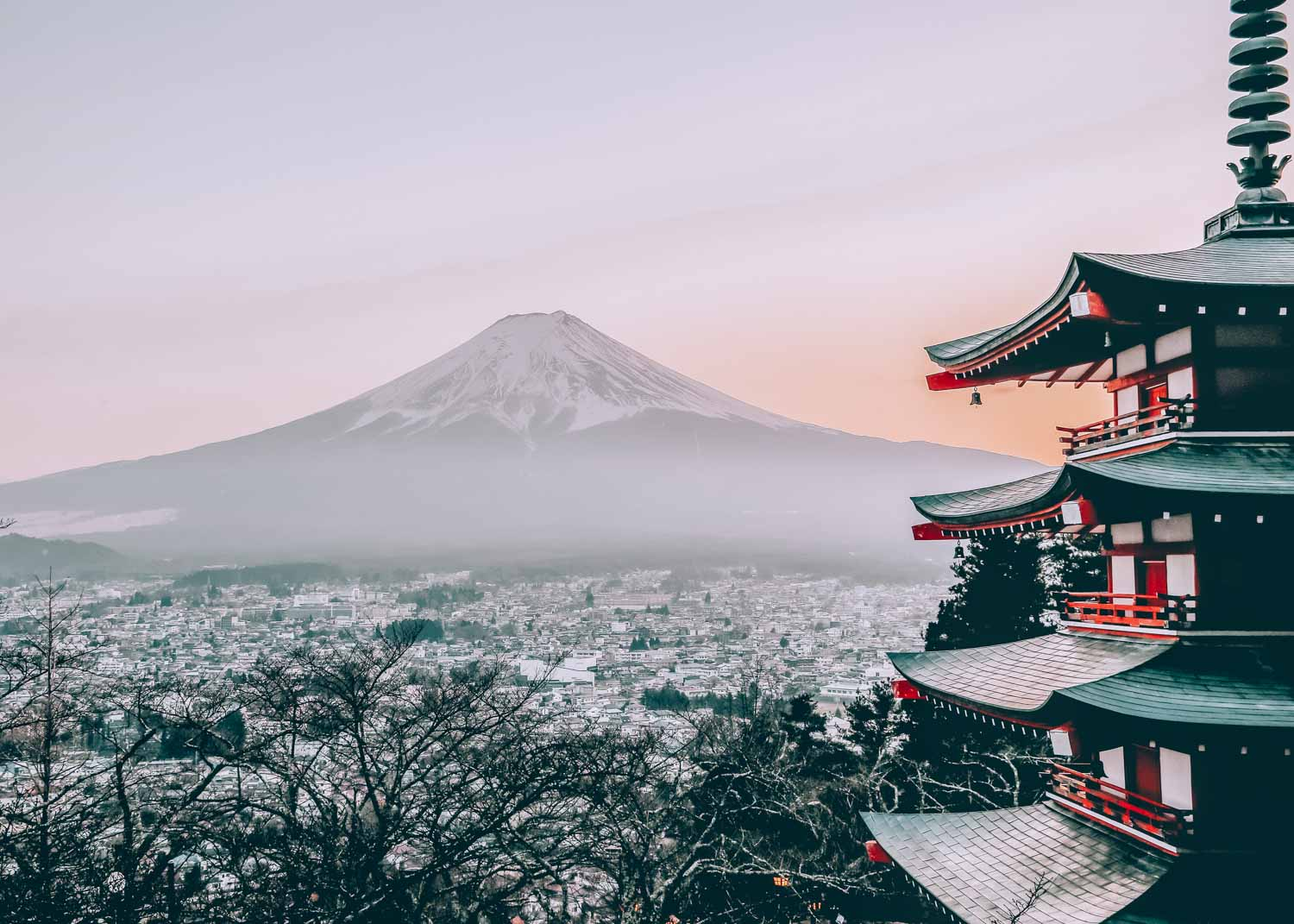 View of Mount Fuji in Japan with city below