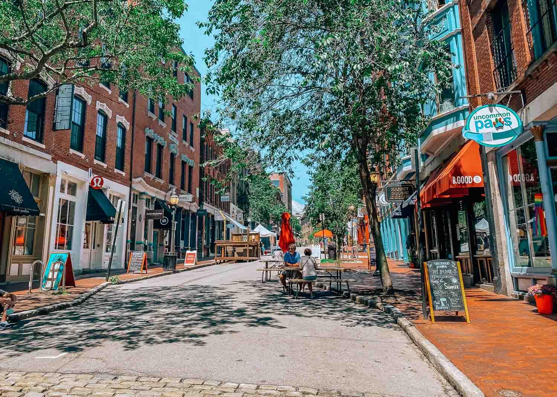Exchange street in Old Port, Portland, Maine
