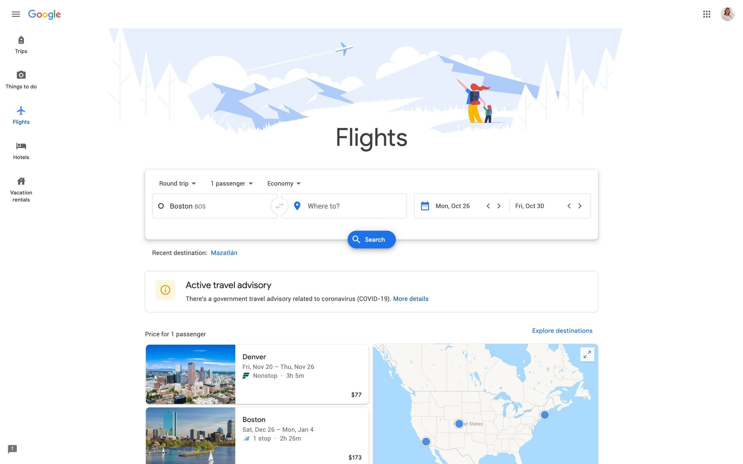 How to find cheap flights - Screenshot of Google Flights home page where you can input departure airport and destination as well as travel dates to search for cheap flights