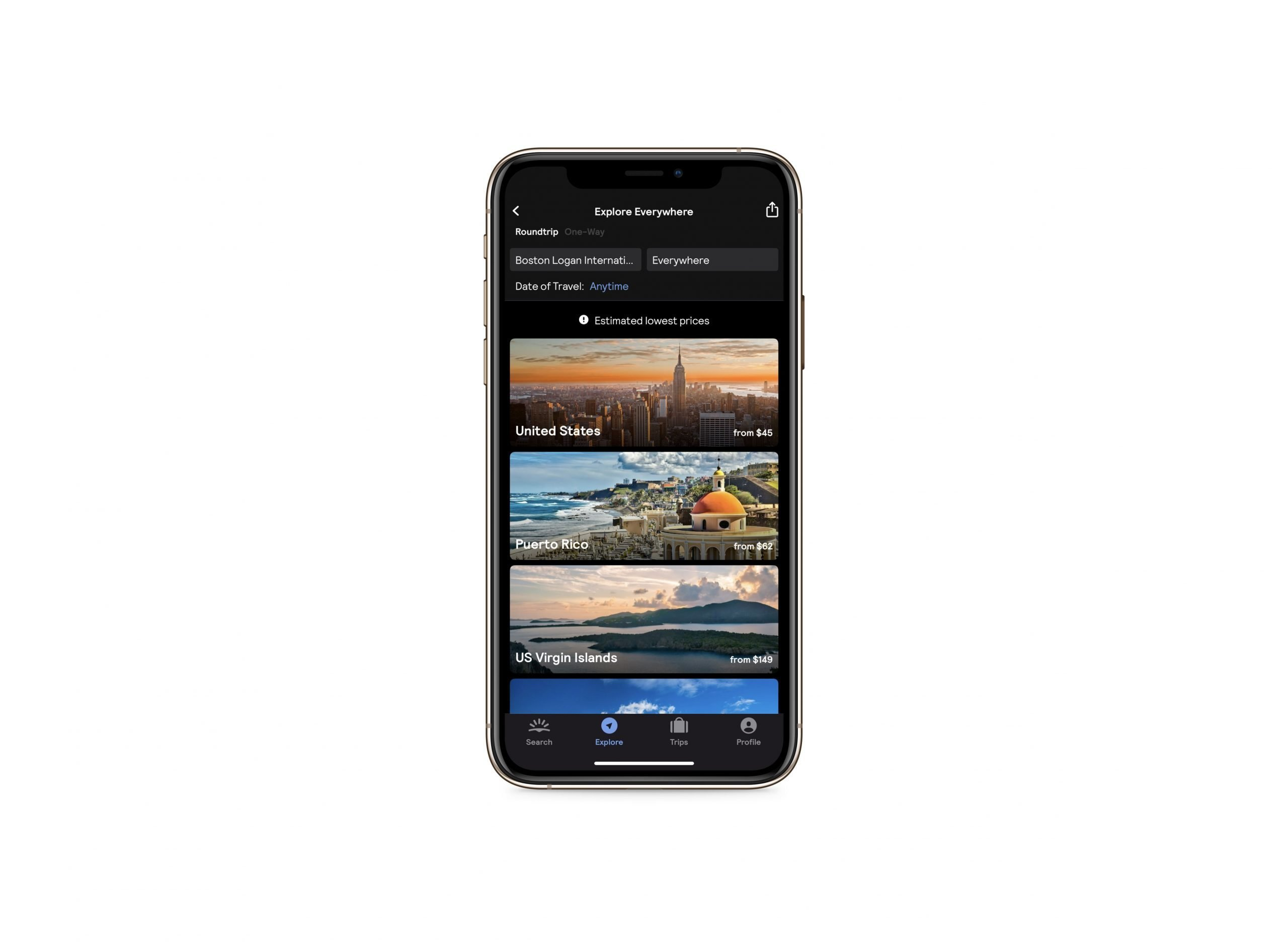 How to find cheap flights - Image of mobile phone showing the explore everywhere section of the Skyscanner app. There is an option to input your departure airport. The destination says everywhere and below is a list of countries and starting flight prices.