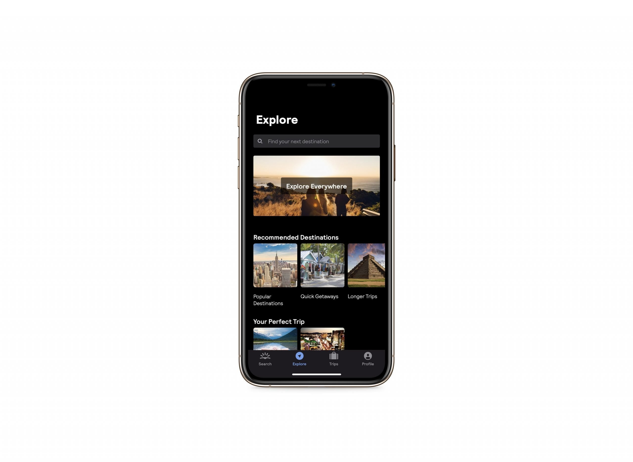 How to find cheap flights - Image of mobile phone showing the explore page of the Skyscanner app. There is an option to Explore Everywhere with images of some recommended destinations.