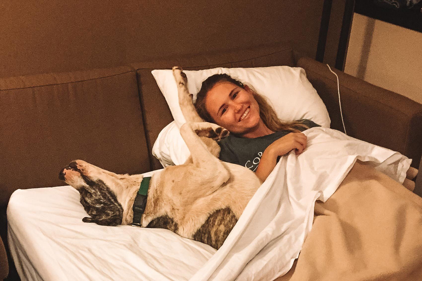 hannah having a dog sleepover with a best friends animal sanctuary rescue dog - bucket list travel