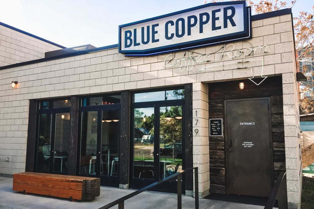 Exterior of Blue Coffee Copper