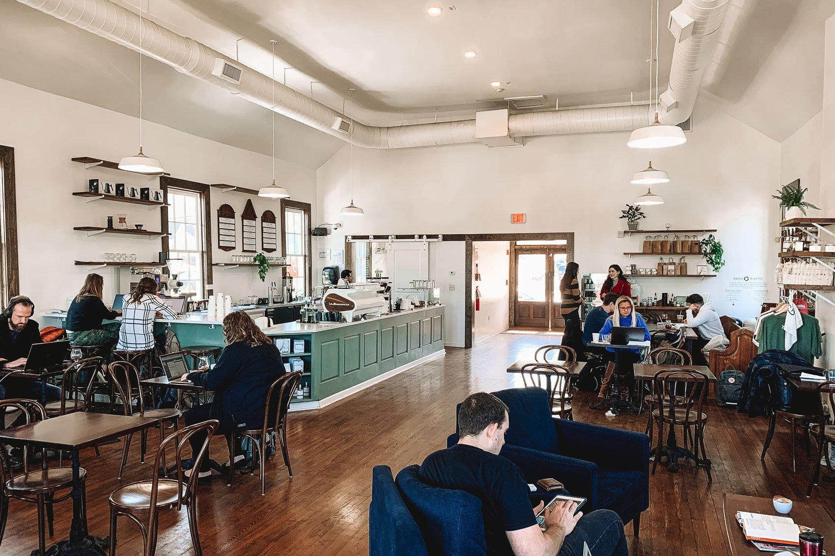 Interior of Humphreys Coffee Shop in Nashville Tennessee - bucket list travel