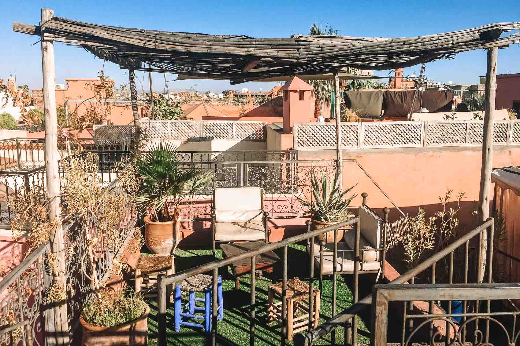 The rooftop of Riad Dar Tiflet overlooking the medina in Marrakech Morocco - bucket list travel one week itinerary