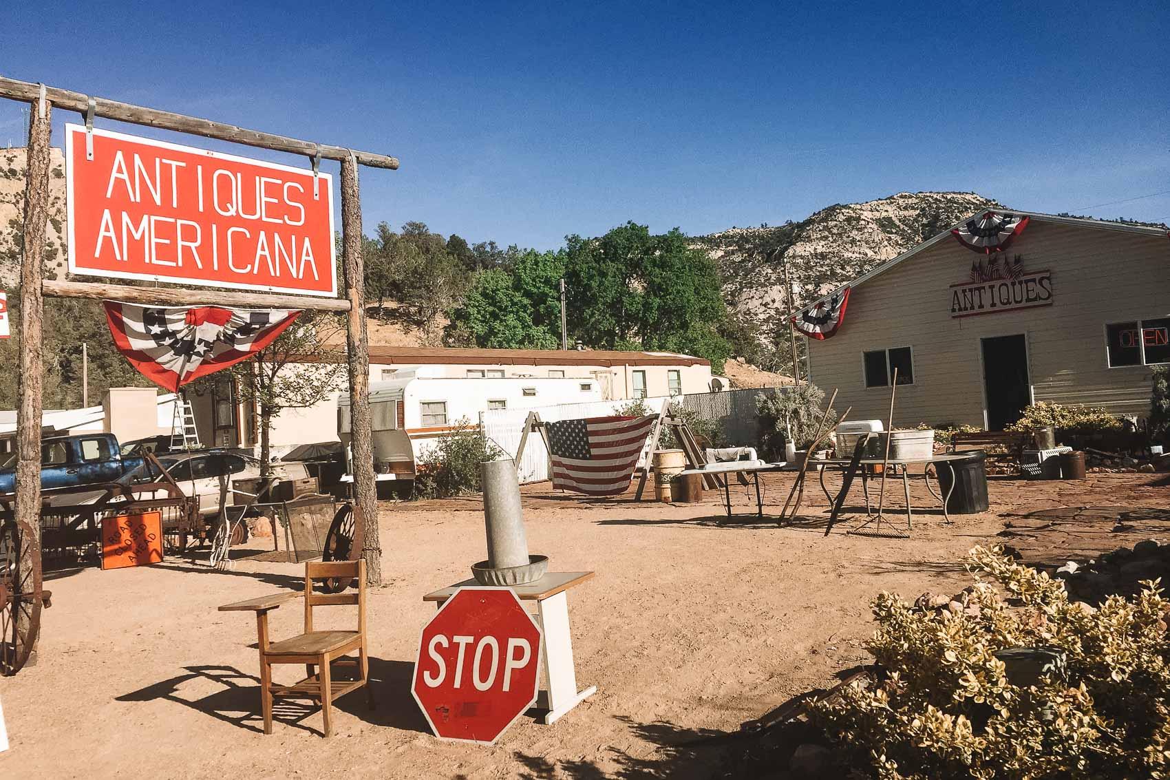 antiques americana shop in kanab, utah near best friends animal sanctuary - bucket list travel