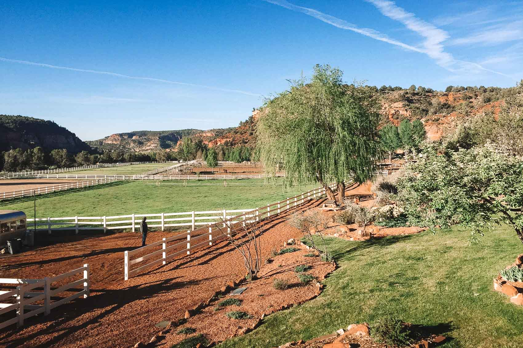 view of the horse pastures in Best friends Animal Sanctuary in Kanab, Utah - bucket list travel