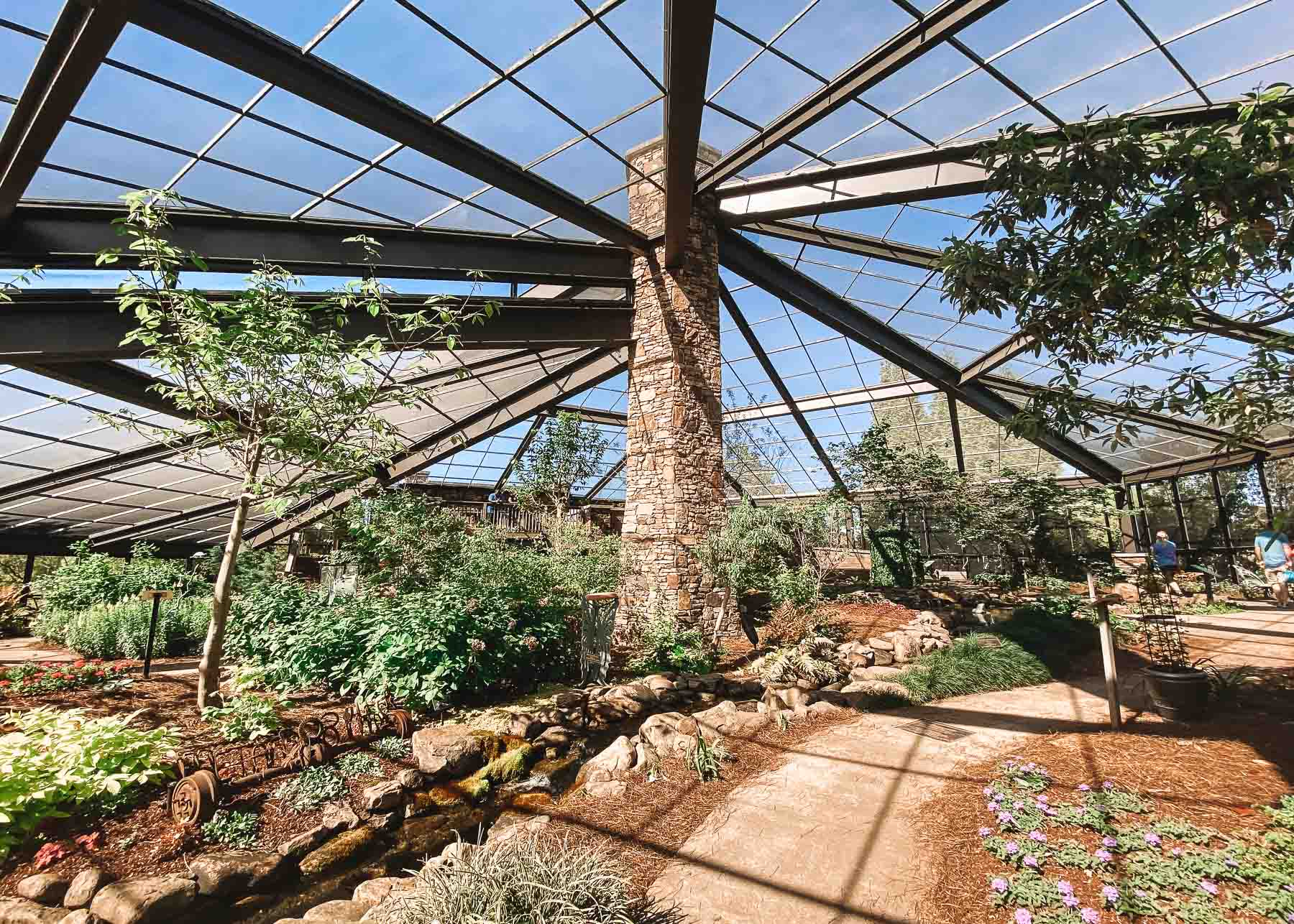 Interior of butterfly house in the Huntsville Botanical Gardens in Alabama