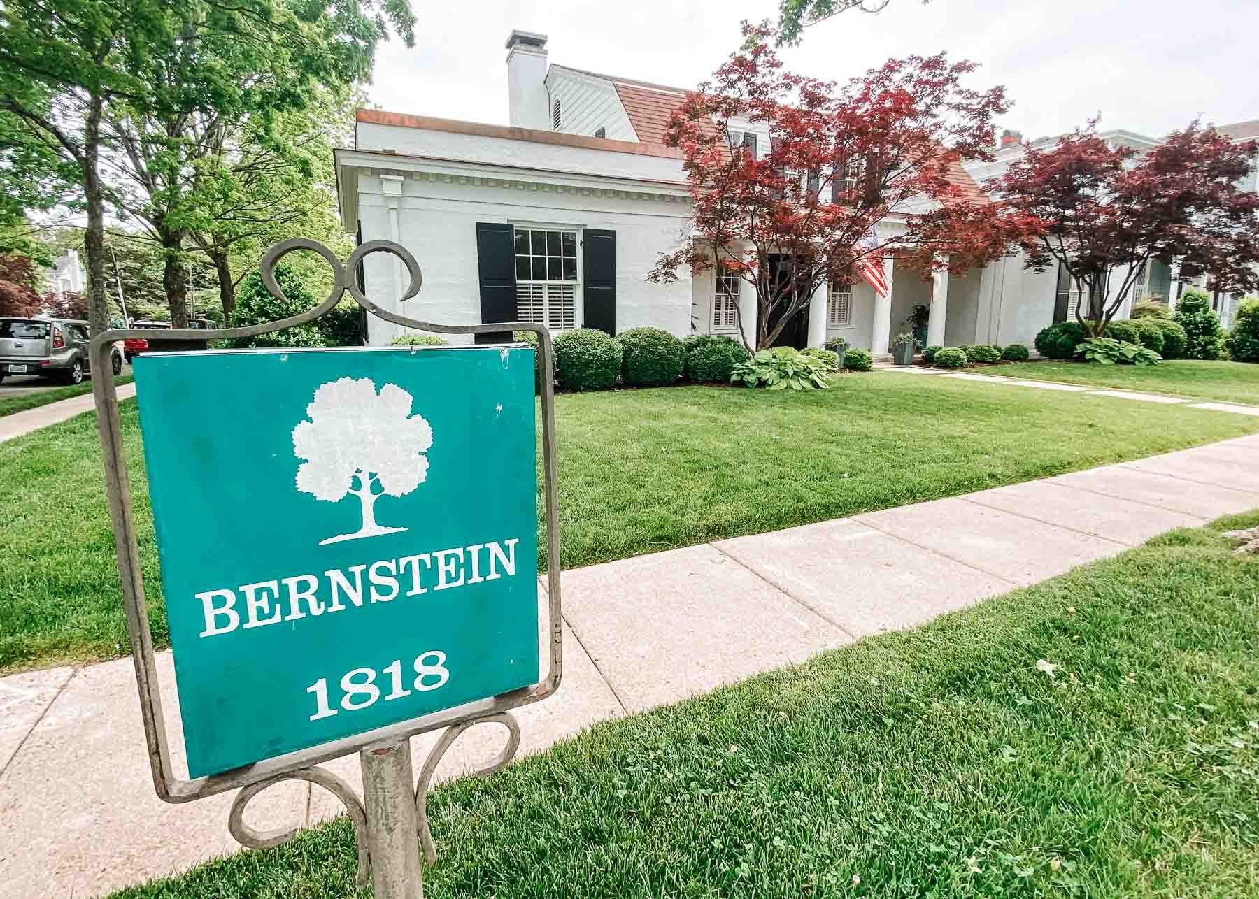 Historic home in Huntsville, Alabama with small sign outside that reads Bernstein 1818
